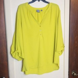 Soho jean flowy neon yellow /green blouse